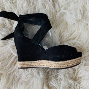 Ugg New black suede lace up wedges size 7